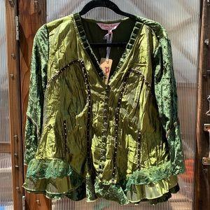 Women's green velvet blouse
